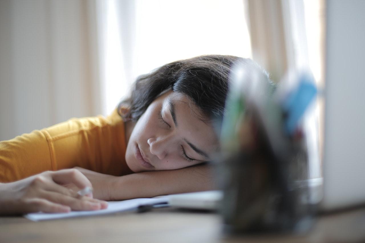 tired sleeping studying