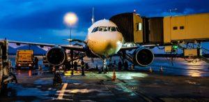 an airplane loading passengers
