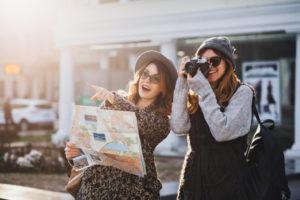 fashionable ladies travelling