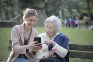 woman with her grandmother