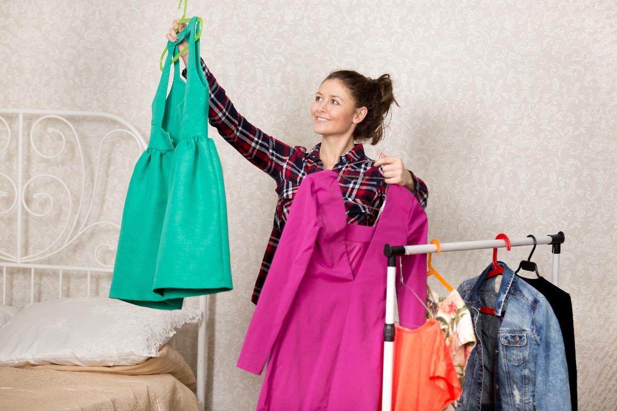 woman picking a dress